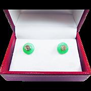 SALE TIMELESS 60 pt. TW OMC Light Fancy Yellow Diamond/10k Solitaire Earrings with Jadeite ...