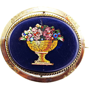 SALE ELOQUENT Micro Mosaic Flower Theorem Swivel Silver Gilt Brooch w/Tintype of Gentleman on