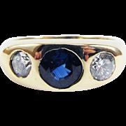 SOLD UNISEX 1.84 Ct. TW Art Deco Ceylon Sapphire/Diamond/14k Trilogy Ring, 4.52 Grams, c.1930!