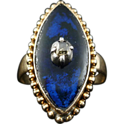 SALE GORGEOUS Georgian Blue Enamel/Table-Cut Diamond/18k Ring, 4.9 Grams, c.1790!