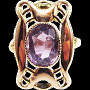 SALE SPLENDID Hand-Wrought Art Nouveau Amethyst/18k Rose Gold Ring, Full Hallmarks, c.1904!