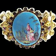 SALE MASTERPIECE Georgian Continental Enamel/Opal/Garnet/Silver Gilt Bracelet, c.1825!