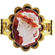 SALE MASTERPIECE Agate Portrait Cameo of Augustus Caesar in Electroplated Gold Bracelet, ...