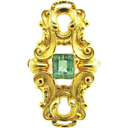 "SALE MAGNIFICENT Late Victorian .80 Ct. Columbian Emerald/15k ""Keyhole"" Dress Ring,"