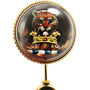 """SALE MASTERPIECE Victorian Reverse-Carved """"Essex"""" Crystal/15k Stickpin, Rare Armoria"""