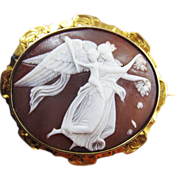 "SALE SUBLIME Mid-Victorian Cameo of Thorvaldson's ""Day"" in 18k Brooch, c.1860!"