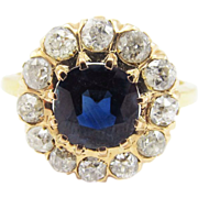 SALE OUTSTANDING Victorian 4.05 Ct. TW Sapphire/OMC Diamond/18k Ring, c.1895!