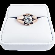 SALE FABULOUS Unisex .65 Ct. Rose-Cut Diamond Solitaire/12k Ring. c.1875!