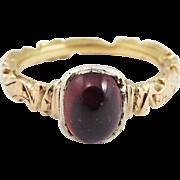 SALE STUNNING Mid-Georgian Garnet/18k Memorial Ring, 4.66 Grams, Dated 1753!