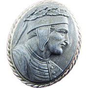 SALE MAGNIFICENT  Victorian Carrara Marble Cameo of Dante in Sterling Brooch, c.1860!