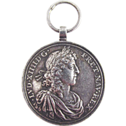 SALE HISTORIC French Double-Sided Sterling Silver Marriage Medal Pendant, King Louis XIV of ..