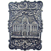 SALE HIGHLY HISTORIC Sterling Calling Card Case with Early US Capital Building, Nathaniel Mill