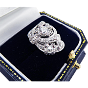 SOLD SO DECO Reversible 1.5 Ct. TW Diamond/14k WG Ring by Kinsley & Sons, 5.83 Grams, c.19