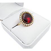 SALE INCREDIBLY PRISTINE Stately 6.19 Ct. Georgian Garnet/Seed Pearl/15k Ring, c.1805!