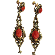 "SALE MUSEUM-WORTHY 3"" Late Georgian Sardinian Coral Cameo/15k Drop Earrings, c.1835!"