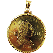 "SALE HIGHLY RARE George III ""Recovery from Madness"" Medal by Charles James set in 14"