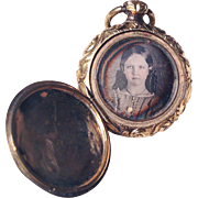 SALE SUBLIME American Early Victorian 14k & Gold Filled Double Daguerreotype Locket, Boy and .
