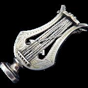 SALE PRISTINE XL Victorian Sterling/Silver Gilt Engraved Lyre Brooch w/Zephyrus, c.1870!