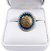 SALE IMPORTANT Federal American Hair Locket/10k Lover's Ring w/Blue & White Enamel, c ...