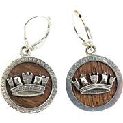 SALE IMPORTANT Pair of Sterling Silver Earrings Set with Timber from the HMS Victory, Lord ...