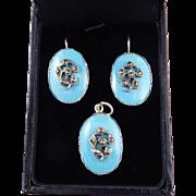 SALE DELIGHTFUL Regency Robin's Egg Blue/Marcasite/Sterling Demi-Parure, Earrings & Pendant, c
