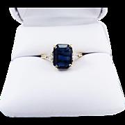 CLASSIC 2.28 Ct. TW Estate Natural Ceylon Sapphire/Trillion Cut Diamond/14k Ring, c.1970!