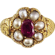 SALE TOP QUALITY Late Georgian Ruby/Pearl/20k Gold Ring, 6.01 Grams, c.1830!