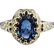 SALE SO SWEET .74 Ct. Natural Ceylon Sapphire Solitaire/10k Ring, c.1925!