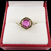 SALE JAZZ AGE Art Deco 2 1/2 Ct. Pink Sapphire Solitaire/14k Ring, c.1925!