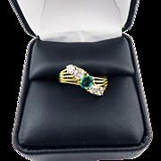 SALE BRILLIANT 1.21 Ct. TW Edwardian Colombian Emerald/OEC Diamond/18k Ring, c.1910!
