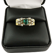 SALE TRULY WONDERFUL Unisex Estate .80 Ct. TW Colombian Emerald/Rose-Cut Diamond/14k Ring ...