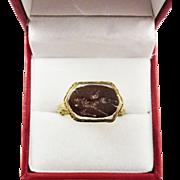 SALE WONDERFUL Ottoman Empire Ring set with Romano-Egyptian Intaglio of Winged Ibex, c.1800/10