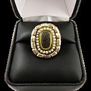 SALE STATELY Late Georgian Hair/Pearl/12k Rose Gold Memorial Ring, 6.15 Grams, c ...