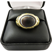 SALE SUPERB Unisex Victorian Egyptian Silver Gilt Ring Set with Ancient Eye Agate, 10.15 ...