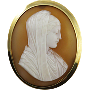 SALE HEAVENLY Italian Shell Cameo of the Virgin Mary Set in 10k & 14k Brooch, c ...