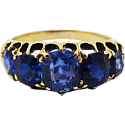 SALE SO DREAMY Victorian 4.59 Ct. TW 5-Stone Unheated Ceylon Sapphire/18k Ring, c.1890!
