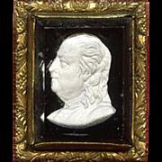 SALE REMARKABLE Federal American Sulfide Cameo Brooch of Benjamin Franklin, c.1806!