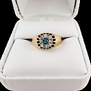 SALE SPLENDID Victorian .85 Ct. TW OMC Diamond/Columbian Emerald/12k Cluster Ring, c.1880!