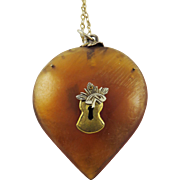 SALE CHARMING Large Georgian Natural Horn/Silver Gilt Heart w/Lock Applique Pendant on Later .