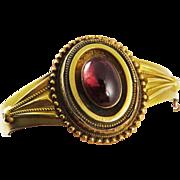SALE SO ROMANTIC High Victorian 5.91 Ct. Garnet Carbuncle/15k Bracelet w/Photo Locket, 13.54 G
