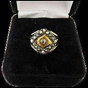 SALE STUNNING Georgian Unisex Rose-Cut Diamond/Seed Pearl/Yellow & Rose Gold 15k Ring, 4.67 Gr