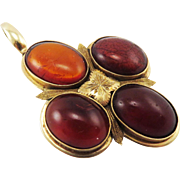 SALE SO RARE Large Victorian Baltic Amber/14k Pendant, c.1880!