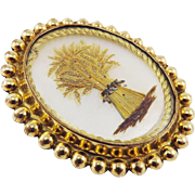 SALE LUMINOUS Georgian Mother-of-Pearl/Gold Wire/Hair/Pinchbeck Wheat Sheaf Lover's Brooch, c.
