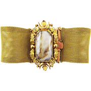"SALE EXTRA-LARGE 7 1/2"" Late Georgian Pinchbeck/Banded Agate Bracelet, c.1830!"