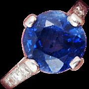 SALE MAGNIFICENT 3.87 Ct. TW Untreated Ceylon Sapphire Solitaire/Diamond/Platinum Ring, c.1905