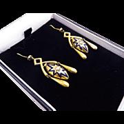 SALE MUST-HAVE High Victorian Blue Enamel/Pearl/15k Girandole Earrings, c.1870!