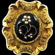 SALE SO ROMANTIC Early Victorian Enamel/Pearl/Diamond/14k Mourning Brooch w/Hair Locket, c.184