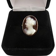 SALE SO PRETTY Edwardian Sardonyx Cameo of a Fashionable Lady in 9k Ring, c.1910!