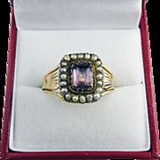 SALE UNISEX Georgian Amethyst/Pearl/9k Ring, c.1810!