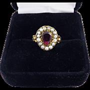 SALE SO ROMANTIC Georgian Garnet/Pearl/18k Heart & Forget-Me-Not Motif Ring, c.1810!
